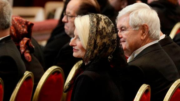 Callista Gingrich, the US ambassador-designate to the Holy See, and her husband, Newt Gingrich, attend a funeral service Thursday for Cardinal Bernard Law at St. Peter