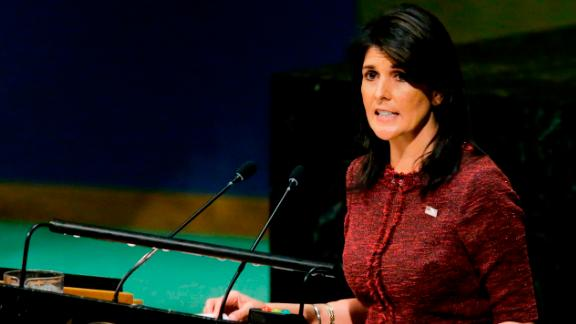 United States Ambassador to the United Nations, Nikki Haley, addresses the General Assembly prior to the vote on Jerusalem, on December 21, 2017, at UN Headquarters in New York. UN member-states were poised to vote on a motion rejecting US recognition of Jerusalem as Israel