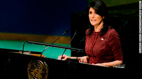 United States Ambassador to the United Nations, Nikki Haley, addresses the General Assembly prior to the vote on Jerusalem, on December 21, 2017, at UN Headquarters in New York. UN member-states were poised to vote on a motion rejecting US recognition of Jerusalem as Israel's capital, after President Donald Trump threatened to cut funding to countries that back the measure.
