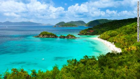 A view of picturesque Trunk bay on St John island, US Virgin Islands considered by many as the most beautiful beach in the Caribbean.