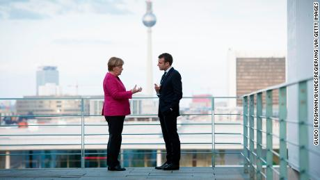 Angela Merkel and Emmanuel Macron in Berlin, on 15 May, the day after Macron was sworn in as President.
