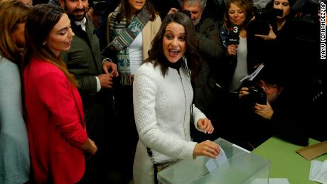Ciutadans (Citizens) candidate Inés Arrimadas casts her vote in Barcelona.