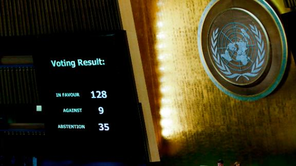 The results of the vote on Jerusalem are seen on a display board at the General Assembly hall, on December 21, 2017, at UN Headquarters in New York. UN member-states were poised to vote on a motion rejecting US recognition of Jerusalem as Israel
