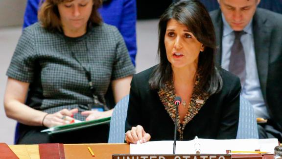US Ambassador to the UN Nikki Haley speaks during a UN Security Council meeting over the situation in the Middle East on December 18, 2017, at UN Headquarters in New York.  The UN Security Council is to vote on a draft resolution rejecting US President Donald Trump