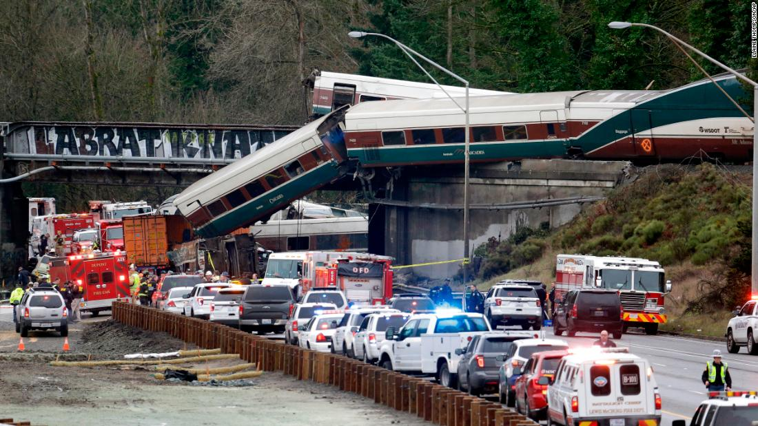 "Cars from an Amtrak train spill onto Interstate 5 after the passenger train <a href=""http://www.cnn.com/2017/12/20/us/amtrak-derailment-washington/index.html"" target=""_blank"">derailed near DuPont, Washington</a>, on Monday, December 18. The Cascades 501 train was traveling at 80 mph in a 30-mph zone when it crashed, killing three and injuring some 100 others."