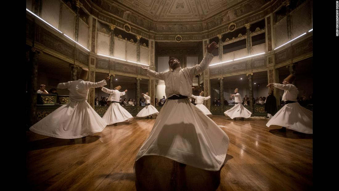 Whirling dervishes take part in a Sema prayer ceremony marking the anniversary of the death of Rumi in Istanbul on Sunday, December 17. Rumi was a 13th-century Persian Sunni Muslim poet and the founder of Sufism, a mystical form of Islam.