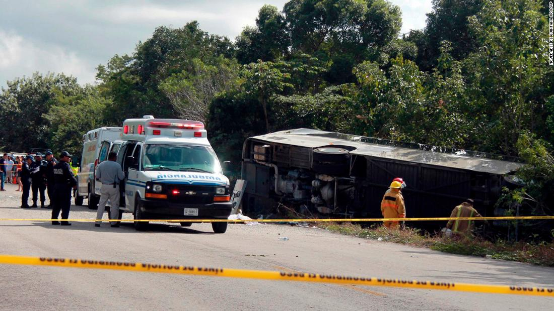 "An overturned tour bus is seen after the bus crashed in Mahahual, Mexico, on Tuesday, December 19. Five Americans and one Canadian have been identified in the <a href=""http://www.cnn.com/2017/12/20/americas/mexico-tour-bus-crash/index.html"" target=""_blank"">fatal crash</a>. Prosecutor Miguel Ángel Pech Cen said preliminary evidence suggests the bus may have been speeding. The bus driver was hospitalized and could face criminal charges, the state prosecutor said."