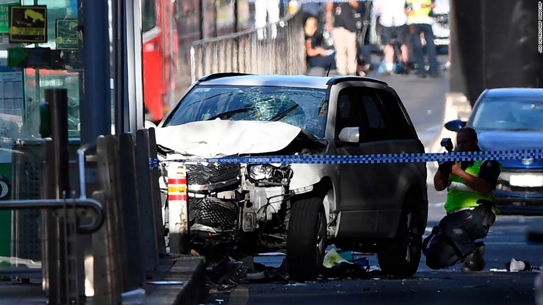 "A damaged vehicle is seen at the scene of an <a href=""http://www.cnn.com/2017/12/21/asia/melbourne-car-pedestrians-crash/index.html"" target=""_blank"">incident on Flinders Street</a> in Melbourne, Australia, on Thursday, December 21. The driver of the car, who plowed into Christmas shoppers, had a history of drug use and mental health issues, police said. Eighteen people were injured, including at least one  child."