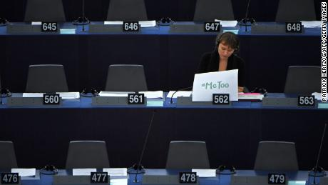 "Swedish MEP Linnéa Engström sits behind a placard placed on her desk that reads ""Me too"" during a debate about combating sexual harassment and abuse in the EU at the European Parliament in October."