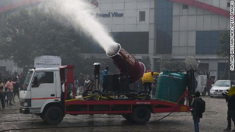 "A water mist cannon, or ""anti-smog gun,"" gets a tryout this week in New Delhi to reduce air pollution."