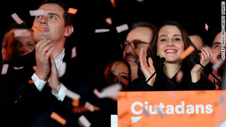Center-right party Ciudadanos (Citizens) candidate Inés  Arrimadas (R) celebrates the poll results in the Catalan regional election. The party is known locally as Ciutadans