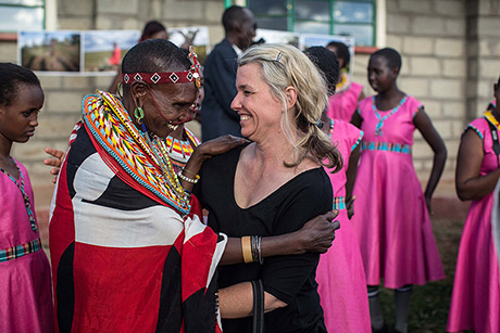 Too Young to Wed founder Stephanie Sinclair greets one of the girls' mothers at the end of the photo workshop in Kenya. (Nicole Sobecki/Too Young to Wed)