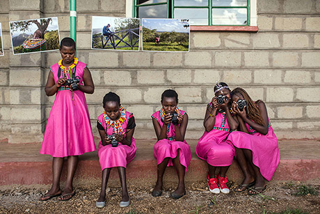 Students participate in the community exhibition at the end of the Tehani Photo Workshop in Kenya. (Nichole Sobecki/Too Young to Wed)