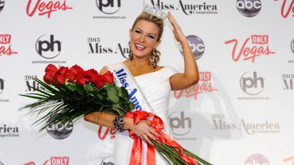 LAS VEGAS, NV - JANUARY 12:  Miss America, Mallory Hytes Hagan, of New York, poses during a news conference after she was crowned during the 2013 Miss America Pageant at Planet Hollywood Resort & Casino on January 12, 2013 in Las Vegas, Nevada.  (Photo by David Becker/Getty Images)