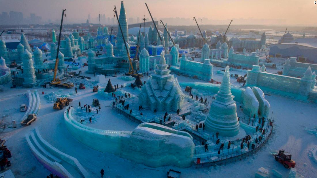 <strong>Harbin, China:</strong> The Harbin International Snow and Ice Festival, famed for its gigantic illuminated sculptures, is about to kick off in northern China. This construction photo was taken on December 16.