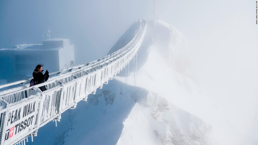 <strong>Vaud, Switzerland:</strong> On Switzerland's Glacier 3000, high in the Swiss Alps, the Peak Walk is the world's first suspension bridge to connect two mountain peaks.