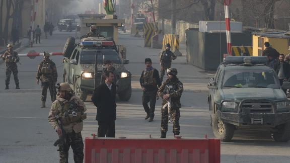 Afghan security personnel near the site of a suicide attack in Kabul.