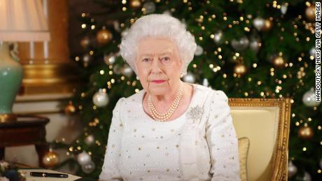 LONDON, UNITED KINGDOM - In this undated image supplied by Sky News, Queen Elizabeth II sits at a desk in the 1844 Room at Buckingham Palace, as she records her Christmas Day broadcast to the Commonwealth at Buckingham Palace, London.  (Photo by Sky News via Getty Images)