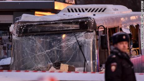 A city bus plowed into a pedestrian underpass in western Moscow on December 25, 2017.
