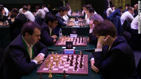 Participants at the first international chess competition held in Saudi Arabia on December 26.