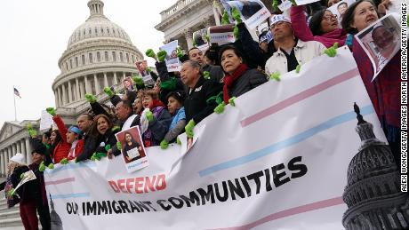 WASHINGTON, DC - DECEMBER 06:  Immigration activists, including U.S. Rep. Judy Chu (D-CA) and Rep. Luis Gutierrez (D-IL), stage a protest on the steps of the U.S. Capitol December 6, 2017 in Washington, DC. Activists urged the Congress to pass a clean Dream Act and protect Temporary Protected Status (TPS) beneficiaries before the end of the year.  (Photo by Alex Wong/Getty Images)