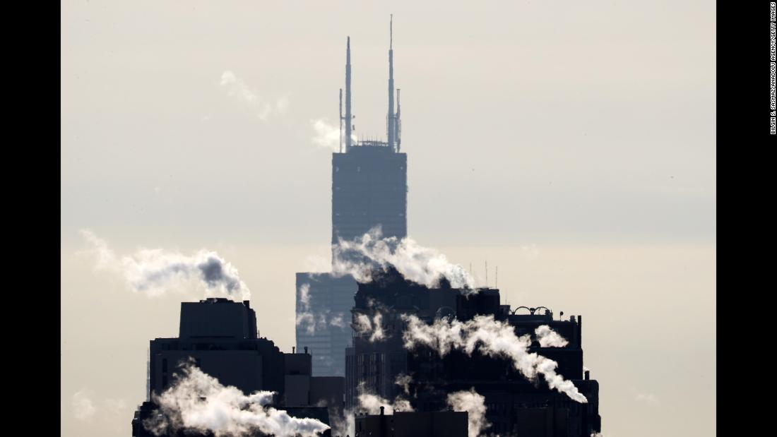 Smoke rises from Chicago skyscrapers on Tuesday, December 26.