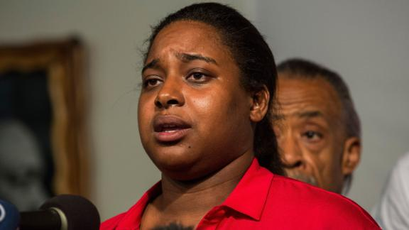 NEW YORK, NY - JULY 14:  Erica Garner, Eric Garner's daughter, attends a press conference held with her familiy members and the Reverand Al Sharpton calling for further justice and legal action against the police officers responsible in the death of Eric Garner on July 14, 2015 in New York City. Garner died in July, 2014 when police subdued him with a chokehold under suspicion of selling loose cigarettes.  (Photo by Andrew Burton/Getty Images)