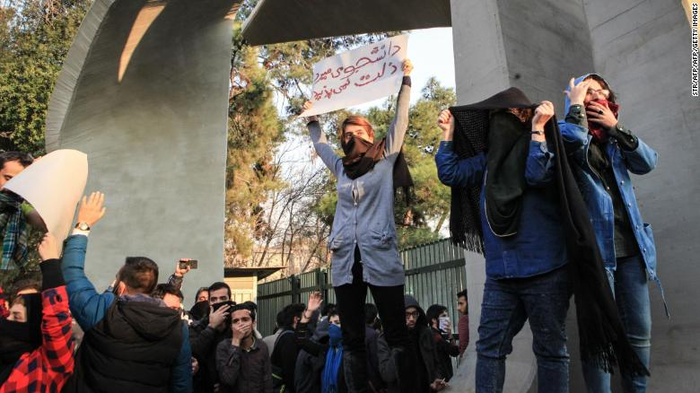 Iranian students protesting at the University of Tehran on December 30.