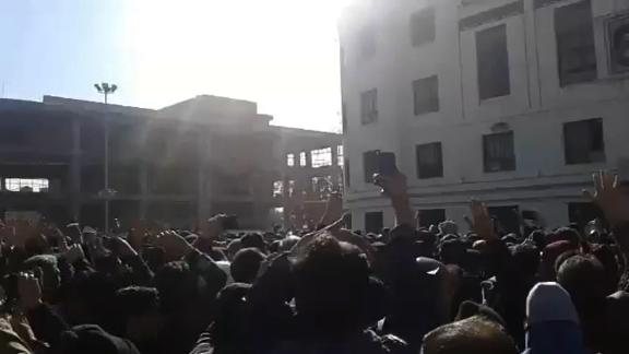 A still frame from a YouTube video published on Friday, December 29 purporting to show a protest in Mashhad, Iran. CNN cannot independently confirm its authenticity.