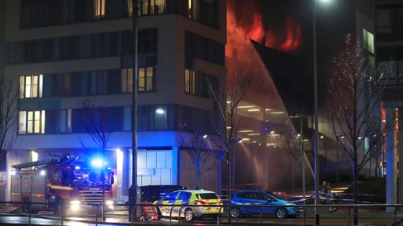 Emergency services at a blaze at a multi-storey car park at the Echo Arena on Liverpool