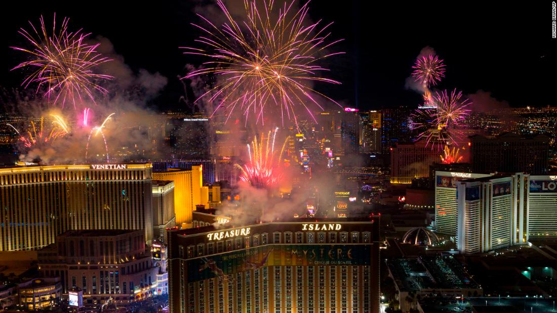 Fireworks are seen along the Las Vegas Strip on January 1.