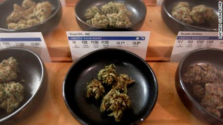 Different types of marijuana sit on display at Harborside marijuana dispensary, Monday, Jan. 1, 2018, in Oakland, Calif. Starting New Year's Day, recreational marijuana can be sold legally in California.