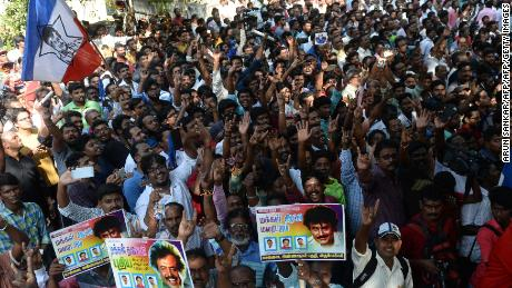 Indian fans of Rajinikanth celebrate after his announcement that he will enter into politics, in Chennai on December 31, 2017.