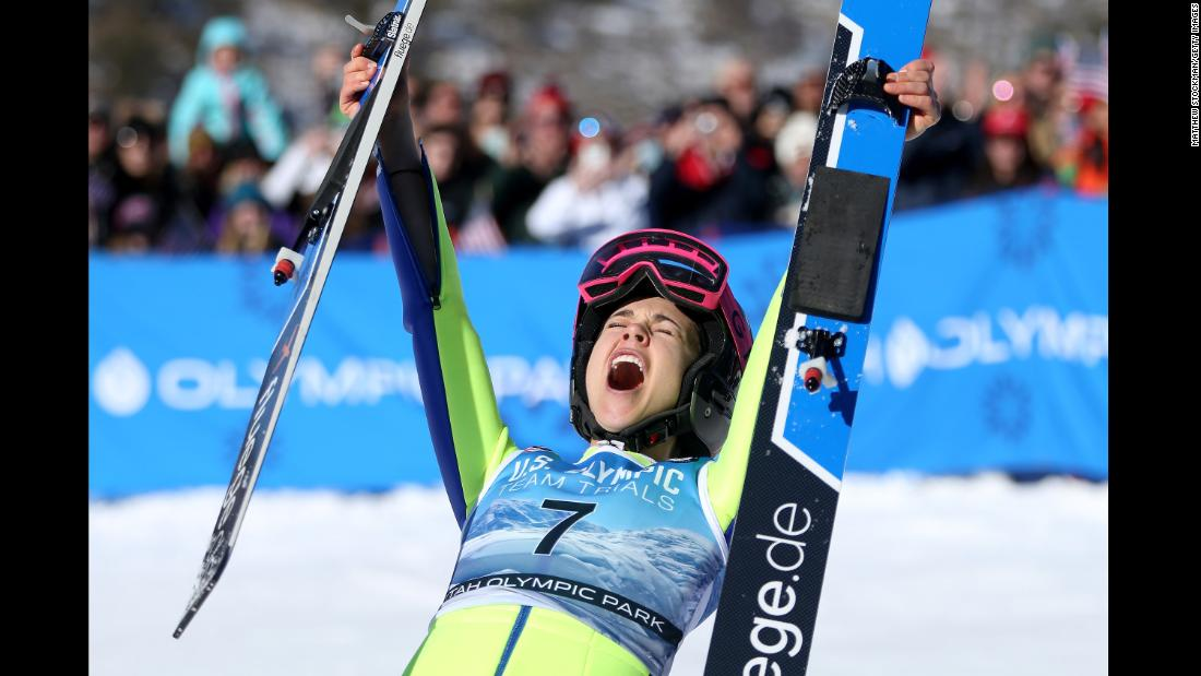 Ski jumper Sarah Hendrickson celebrates after winning at the US Olympic Trials on Sunday, December 31.