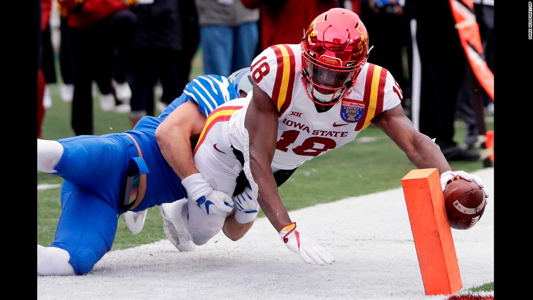 Iowa State wide receiver Hakeem Butler reaches for the goal line during the Liberty Bowl on Saturday, December 30. He was ruled out at the 3-yard line, but the Cyclones would go on to beat Memphis 21-20.