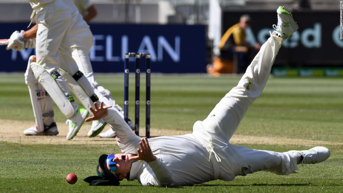 Australia's Steve Smith drops a catch during the fourth Test match of the Ashes series on Wednesday, December 27.
