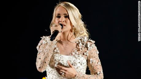 Carrie Underwood performing at the CMA Awards on November 8, 2017 in Nashville, Tennessee.
