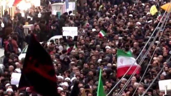 """An image grab taken from a broadcast by Islamic Republic of Iran Broadcasting (IRIB) on January 1, 2018, shows Iranians chanting slogans as they march in support of the government in the northwestern city of Zanjan. / AFP PHOTO / Handout / RESTRICTED TO EDITORIAL USE - MANDATORY CREDIT """"AFP PHOTO / HO / IRIB"""" - NO MARKETING NO ADVERTISING CAMPAIGNS - DISTRIBUTED AS A SERVICE TO CLIENTS  NO RESALE - NO BBC PERSIAN / NO VOA PERSIAN / NO MANOTO TVHANDOUT/AFP/Getty Images"""