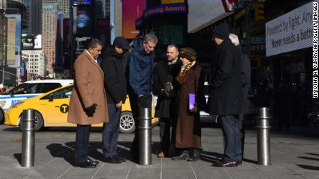 Mayor Bill de Blasio, center, unveils plans to add more security bollards across the city.