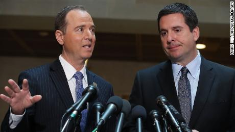 House Intelligence Committee Chairman Devin Nunes (R-CA) (R), and ranking member Rep. Adam Schiff (D-CA) speak to the media about Committee's investigation into Russian interference in the U.S. presidential election, at the U.S. Capitol on March 15, 2017 in Washington, DC.