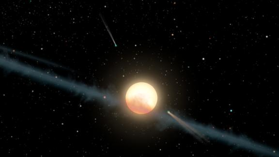 This illustration depicts a hypothetical uneven ring of dust orbiting KIC 8462852, also known as Boyajian's Star or Tabby's Star.