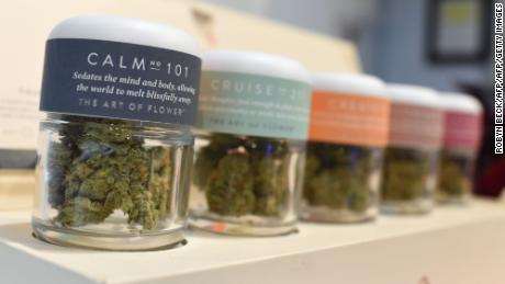 Marijuana for a calming effect is for sale at the Higher Path medical marijuana dispensary in the Sherman Oaks area of Los Angeles, California, December 27, 2017. At the stroke of midnight on January 1, pot lovers in California may raise a joint, instead of a glass of champagne. America's wealthiest state is legalizing the growth, sale and consumption of recreational marijuana, opening the door to the world's biggest market. / AFP PHOTO / Robyn Beck        (Photo credit should read ROBYN BECK/AFP/Getty Images)