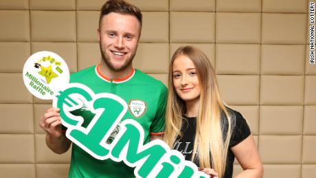 NO REPRO FEE. 2nd January 2018. Pictured with his girlfriend, Chloe O'Leary, is Kevin O'Connor, Irish professional footballer for Preston North-End in the English Championship. Left-back Kevin won the top prize of €1,000,000 on the National Lottery's Millionaire Raffle draw which took place on New Year's Eve. He is originally from Castlebridge, Co Wexford and his ticket was bought in Flanagan's Centra in Castlebridge, Co. Wexford on Thursday, 14th December. The former Rep of Ireland Under 21 international's ticket number was 54239. Pic: Mac Innes photography.