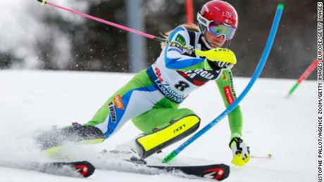 ZAGREB, CROATIA - JANUARY 03: Ana Bucik of Slovenia competes during the Audi FIS Alpine Ski World Cup Women's Slalom on January 3, 2018 in Zagreb, Croatia. (Photo by Christophe Pallot/Agence Zoom/Getty Images)