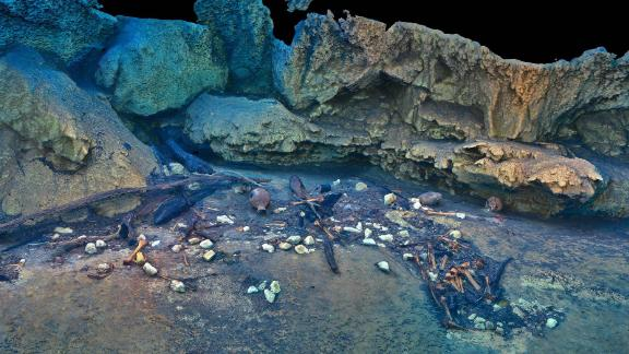 A 3D reproduction of offerings found underwater in the Holtun cenote. Supported by the National Geographic Society, The Digital Preservation Project is developing technologies for high-resolution in-situ scanning.
