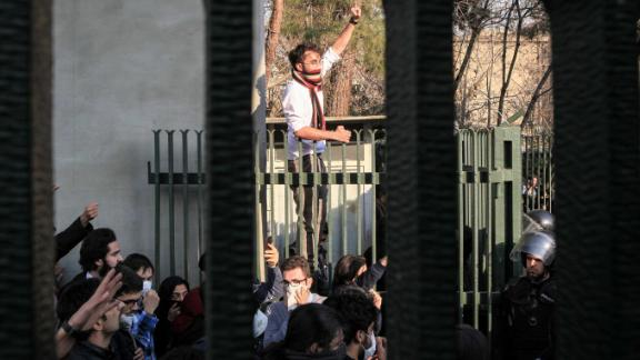 People gather to protest in Tehran on December 30.