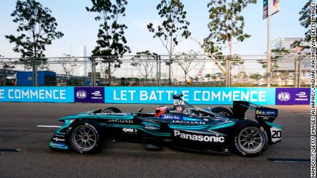 HONG KONG, HONG KONG - DECEMBER 03: In this handout from Jaguar Racing - Mitch Evans (NZL), Panasonic Jaguar Racing, Jaguar I-Type II during the Hong Kong ePrix, Round 2 of the 2017/18 FIA Formula E Series at the Central Harbourfront Circuit on December 03, 2017 in Hong Kong, Hong Kong. (Photo by Andrew Ferraro/LAT Images/Jaguar Racing via Getty Images)