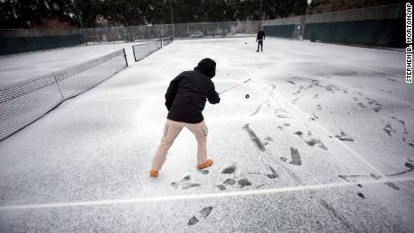 Hockey sticks got some rare cold-weather use Wednesday in Savannah.