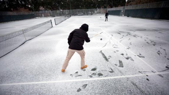 Hockey sticks got some rare cold-weather use Wednesday in Savannah.