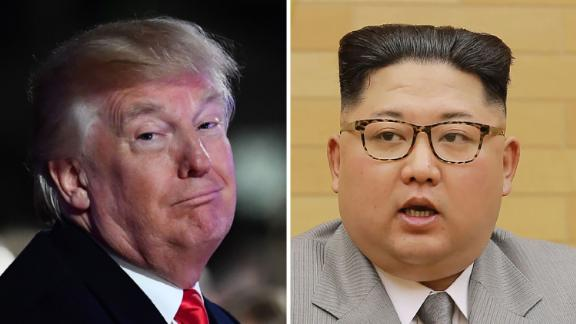 (FILES) This combo shows a file photo (L) taken on November 30, 2017 of US President Donald Trump smiling during the 95th annual National Christmas Tree Lighting ceremony in Washington, DC; and a file picture (R) released by North Korea